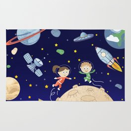 Space kids astronauts planets asteroids and spaceships Rug