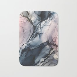 Blush, Navy and Gray Abstract Calm Clouds Bath Mat