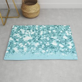 Sparkly Frozen Blue Glitter Ombre Rug
