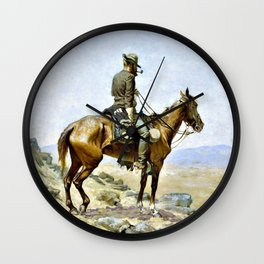 Frederic Remington - The Lookout - Digital Remastered Edition Wall Clock