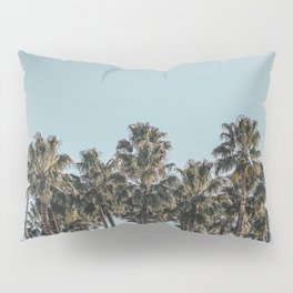 California Beach Vibes // Tropical Palm Trees Dusty Blue Sky Travel Photograph Pillow Sham
