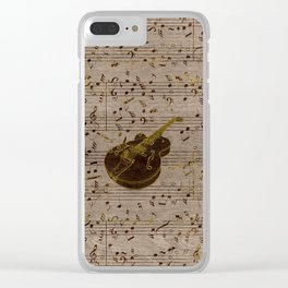 Golden pyrography  Acoustic Guitar on wood Clear iPhone Case