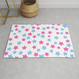 Pink and Blue Stars Rug