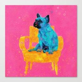 Waiting for human, dog friend Canvas Print
