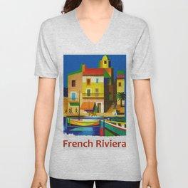 Vintage French Riviera Travel Ad Unisex V-Neck