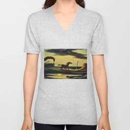 Classical Masterpiece 'The Race' - Horse and Train by Thomas Hart Benton Unisex V-Neck