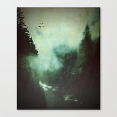 Morning dust on Mountains - Forest Wood Tree Canvas Print