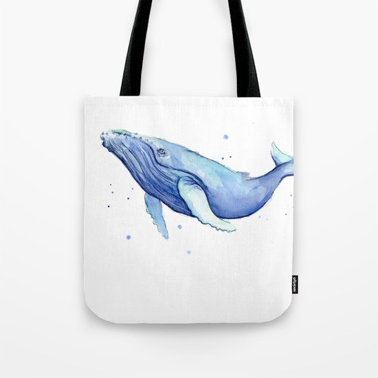 Humpback Whale Watercolor Animal Painting Nursery Animals Tote Bag