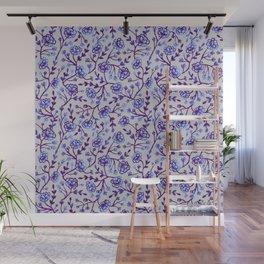 Watercolor Peonies - Periwinkle Wall Mural