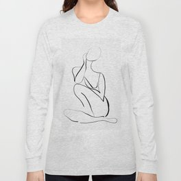 Female Figure Line Art Long Sleeve T-shirt