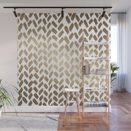 Cute knitting pattern - gold Wall Mural