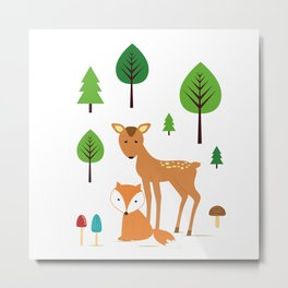 fox and deer Metal Print