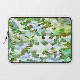 Foliage Abstract Pop Art In White Green and Powder Blue Laptop Sleeve