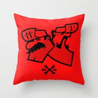 mario bros Throw Pillows featuring Mario & Luigi - BROS by La Manette