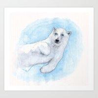 polar bear Art Prints featuring Polar bear underwater by Savousepate