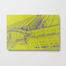 Manhattan Bridge - Green Metal Print