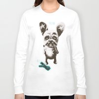 foo fighters Long Sleeve T-shirts featuring FOO FOO FRENCHIE with Pet Bunny by Haus Of Lelu