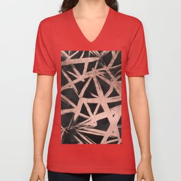 Handdrawn faux rose gold brushstrokes modern stripes triangles pattern Unisex V-Neck