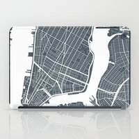 new york map iPad Cases featuring New York City map by Studio Tesouro