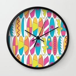 Mini Rainbow Colored Waikiki Surfboards Wall Clock