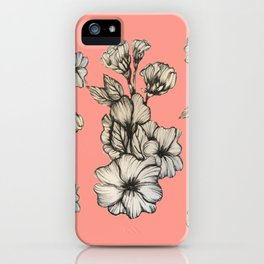 Peachy Hollyhock Pattern iPhone Case