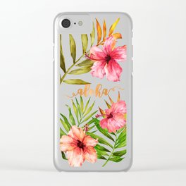 Aloha Watercolor Tropical Hawaiian leaves and flowers Clear iPhone Case