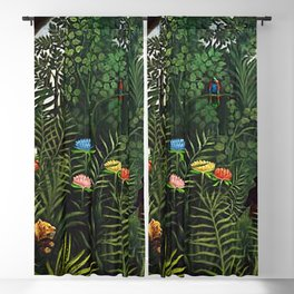 Jungle with Tiger and Hunters by Henri Rousseau Blackout Curtain