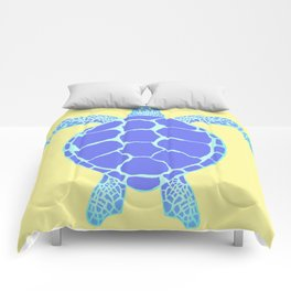 Beach Yellow Turtle Comforters