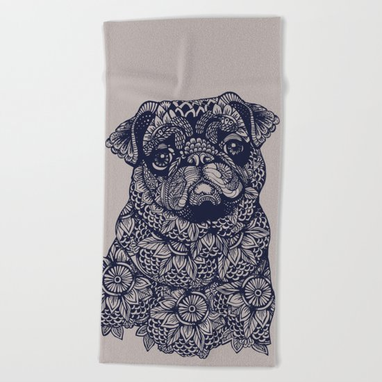 MANDALA OF PUG Beach Towel
