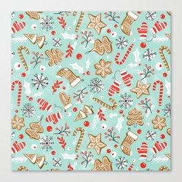 Gingerbread Dreams - Aqua Canvas Print