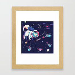 The Adventures of Space Cat Framed Art Print