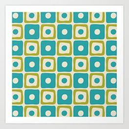 Mid Century Modern Square Dot Pattern 771 Turquoise and Chartreuse Art Print