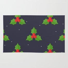 Red Christmas Mistletoe Pattern Rug