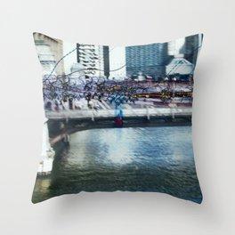 Light Bridge - Light Painting Throw Pillow