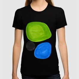 Mid Century Vintage Abstract Minimalist Colorful Pop Art Lime Green Phthalo Blue Black Bubbles T-shirt