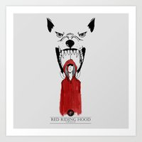 red hood Art Prints featuring RED HOOD by DiptoIH