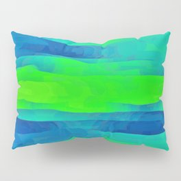 Lime Green & Blue Stripes Abstract Pillow Sham