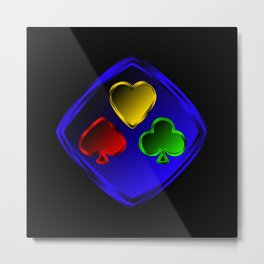 Vector set of designations of cards and suits in poker in metal frame on foil. Red green blue and ye Metal Print