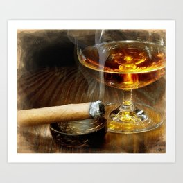 Cigar And Cordial Painting Foodie Cigar Lover Smoking Smoker Art Print