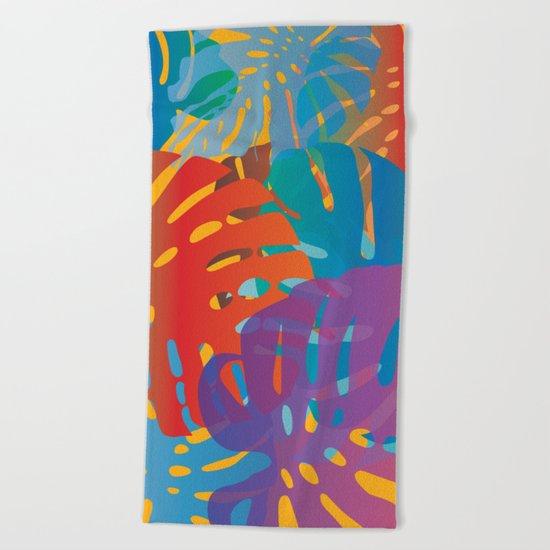Colorful monstera leaves 2 - gradients Beach Towel