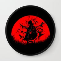 sasuke Wall Clocks featuring Red Moon Itachi by jpmdesign