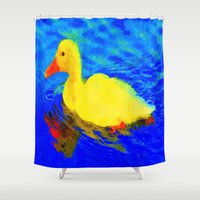 duck Shower Curtains featuring duck by Aat Kuijpers