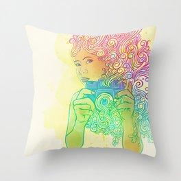 Doodle shot Throw Pillow