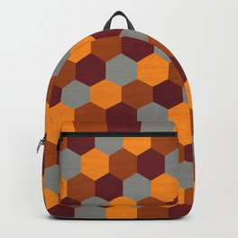 Browns Hues Geometric Marquetry Pattern Backpack