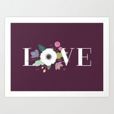 Floral Love - in Plum Art Print