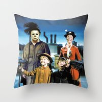 michael myers Throw Pillows featuring Michael Myers in Mary Poppins by Luigi Tarini