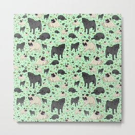 Pug Dog Pattern Metal Print