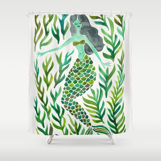 Kelp Forest Mermaid Green Palette Shower Curtain By Cat Coquillette Society6
