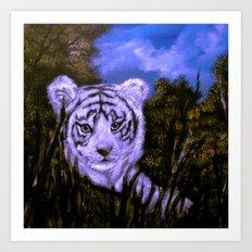 White Tiger Cub all alone. Art Print