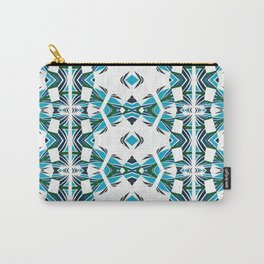 Neo Tribal Aztec Rhythmic Dance Geometric Turquoise, White & Black Carry-All Pouch